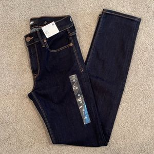 Express dark blue skinny mid rise jeans